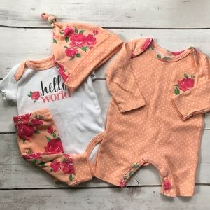 4 PC Baby Essentials set for baby girl - Size 3M
